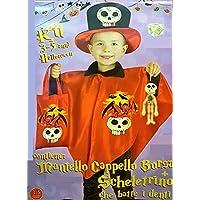 Costume da diavoletto mantello cappello borsa scheletrino battidenti 3 5  anni 9f53e2c75849