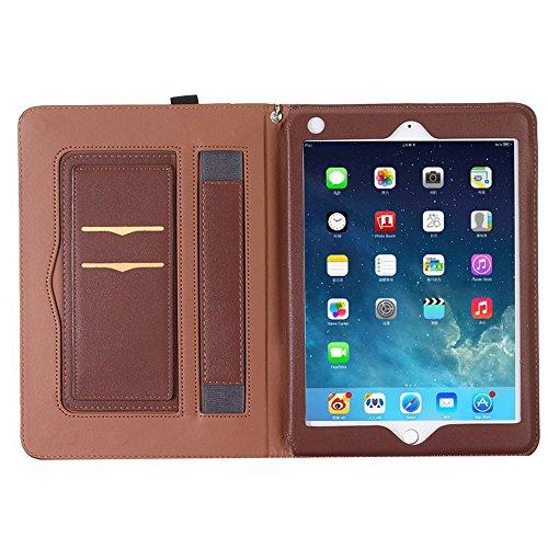 Yimiky iPad Mini Hülle 7,9 Zoll, Handschlaufe Griff Dokumentenkartentasche Smart Ständer Weiches PU Leder Business Stilvolle Folio Ganzkörper Schutzhülle für Apple iPad Mini 1/2/3 7,9(Dunkelbraun)