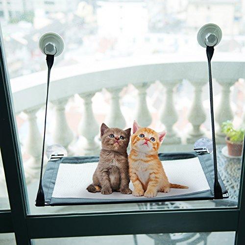 CO-Z Katzenfenster Katzensitz Katzenbetten Katzenbett Katzenstangen Katze Hängematte Hängeregal Fensterplatz Cat Window Sonnenschein Fenster mit Saugnapf belastbar bis 40kg
