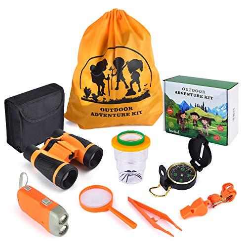 Abenteuer Spielzeuge zur Natur-erforschung| Kinder Fernglas Spielzeug Set|11Stück Abenteuer Kit für draußen| Kompass, Lupe, Taschenlampe,Fernglas für Kinder|Lehrreiche Spielzeuge für Jungen Mädchen