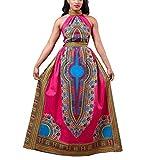 Frau Sexy Afrika Druckkleid YunYoud_Art und Weise Sleeveless langes Kleid (Rose Red, M)