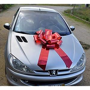 2-Tage-Lieferung: Riesige rote Schleife 65x105cm Rosette, Auto, Weihnachten, kein Basteln!
