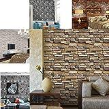 Webla - Papel de pared 3D Ladrillo de piedra efecto rústico Pvc autoadhesivo etiqueta de la pared decoración para el hogar de vinilo lavable papel pintado 45X3M