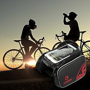 """Bolsa de Bicicleta Ciclismo Impermeable Alforja Bolso Delantero del Tubo Bolso del Manillar Bolsa Sillin con Pantalla de PVC Transparente para Teléfonos Móviles(Pantalla Tamaño ≤ 6"""") Rojo -Duomishu"""