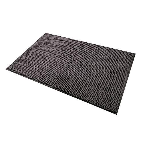 LiGG Badezimmerteppich Anti Rutsch Super Saugfähige Badteppich Weiche Mikrofaser Chenille Badvorleger für Wohnzimmer Badezimmer Küche Schlafzimmer(50 x 80 cm,Grau)