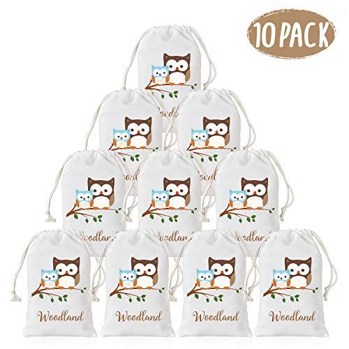 KREATWOW Woodland Party Supplies Favor Taschen Baby Shower Geburtstag Süßigkeiten Geschenk Goody Taschen Eule Design 10 Pack