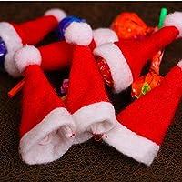 Erduo Mini Adornos navideños Navidad Lollipop Hat Navidad Non-Woven Cute Hat Accesorios navideños para