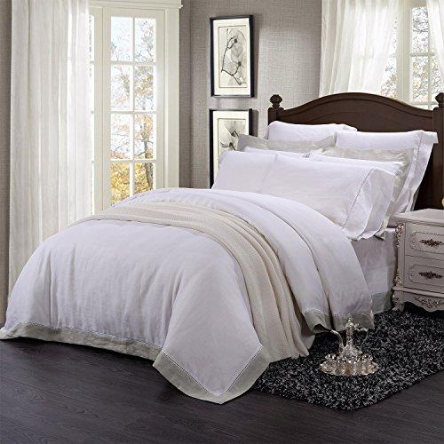 Einfache & Opulence 100% Leinen Stone Washed 3Solid Pure Color Hohlsaum Spitze Bettbezug Set, Linen Border, King Size -