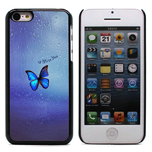 Graphic4You Blue Butterfly And Flowers Design Harte Hülle Case Tasche Schutzhülle für Apple iPhone 5C Design #11