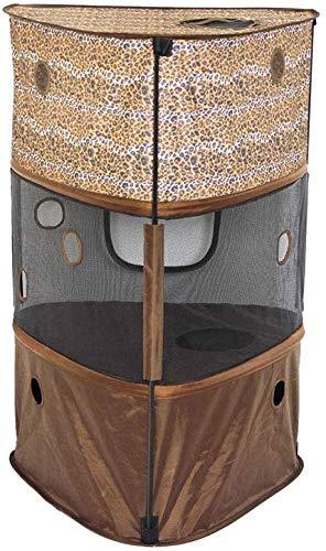 RRVVBBGG Kratzbaum,Dreieck Katzenstreu Faltbare Atmungsaktive Komfortfaser Ruten Zelt Leopard Kaffee Braune Kratzbaum