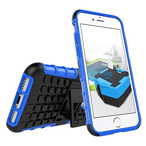 DouKou iphone 7 Custodia,Durevole Custodia TPU/PC Doppio Strato Protezione , con Kickstand per iphone 7 (Arancione) Blu