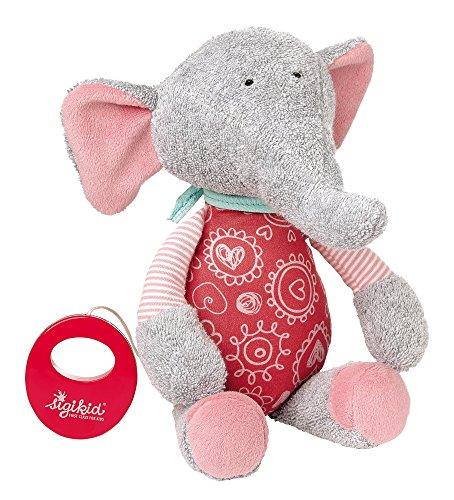 Sigikid 41962 hija, musical elefante de peluche, gris / rosa, 'Bele Bele'