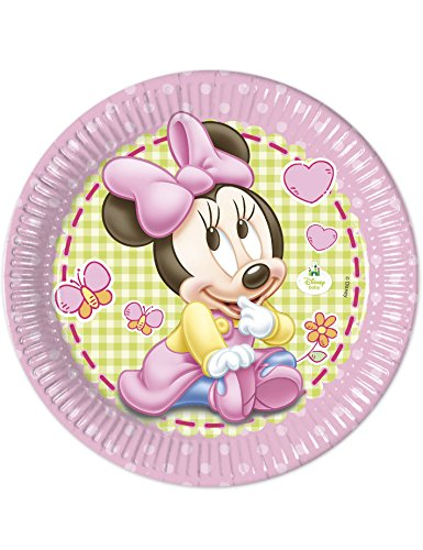 8 Grandes assiettes en carton Bébé Minnie 23cm - taille - Taille Unique - 227542