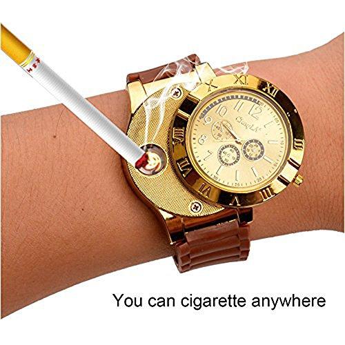 USB-Feuerzeug-Armbanduhr, Militär, Herren-Armbanduhr, Leger, Mit Windsicherem Flammenlosem Zigaretten-/Zigarrenanzünder, Feuerzeug