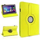 NAUC Schutzhülle für Ihr CSL Panther Tab 10 Hülle Tasche Carbon Cover Tablet Case, Farben:Gelb