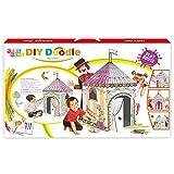Leo & Emma Doodle Spielhaus DIY Zeichnen Kunst Bastelset für Kinder Pappe Spielhaus Malhaus zum Bemalen und Dekorieren inkl. Stifte (Zirkus)
