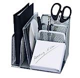 Wedo 65554 Stifteköcher Butler Office (4 Fächer und Schrägablage, Drahtmetall) silber