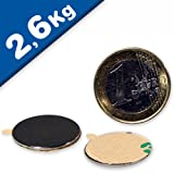 16 x Disco magnetico autoadesivo Ø 22 x 1mm Neodimio N35, Nichelato - Forza 2,6 kg - 16 pezzi - Magneti rotondi extra potenti al neodimio adesivi 3M