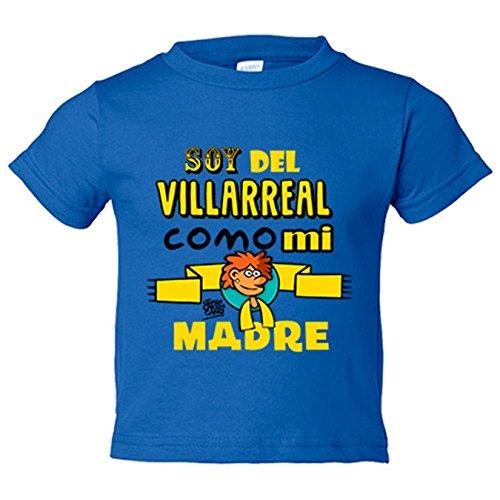 Camiseta niño soy del Villarreal como mi madre Jorge Crespo Cano - Azul Royal, 9-11 años