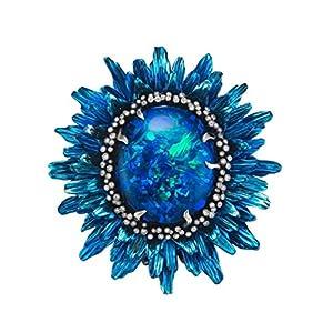 YSoutstripdu Fingerring mit Sonnenblumenblütenblättern, künstlicher Opal, für Damen, Party-Dekoration, Fingerring