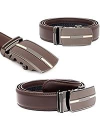 Kandharis Herren Gürtel mit Automatik Schnalle Echt Leder 3,5cm Breit Einfarbig Dunkelbraun kürzbar Modell 150