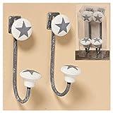 Unbekannt 2 Stk Wandhaken Stars grau Garderobenhaken Haken Metall Porzellan Garderobe Kleiderhaken Star Sterne Stern