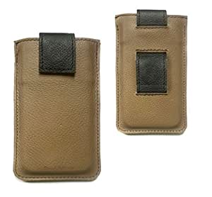 Chalk Factory Premium Genuine Leather with Belt Loop Holder Sleeve Cover Pouch Case for Alcatel One Touch Fire Mobile Phone