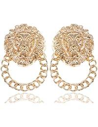 Alilang Golden Tone Venetian Etched Lion King Heads Chain Hoop Stud Dangle Earrings