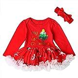 Qlan bébé filles infantiles Noël dentelle robe tenues Set vêtements Poncho jupe + bande de cheveux-0-18 mois