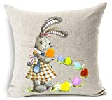 vintage cap Happy Easter Oil Painting Smile Bunny Color Egg and Butterflies Cotton Linen Square Decorative Throw Pillow Case Cushion Cover 18inchs (10)