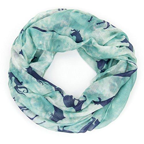 MANUMAR Loop-Schal für Damen | Hals-Tuch in türkis blau mit Pferde Motiv als perfektes Herbst Winter Accessoire | Schlauchschal | Damen-Schal | Rundschal | Geschenkidee für Frauen und Mädchen