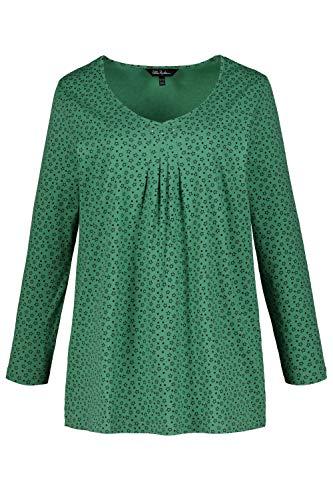 Ulla Popken Damen große Größen V-Shirt grün 50/52 721243 45-50+