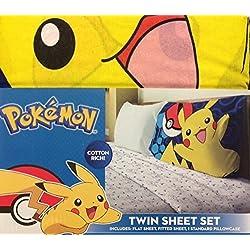 Pokemon Juego de sábanas, 3 piezas, cama doble