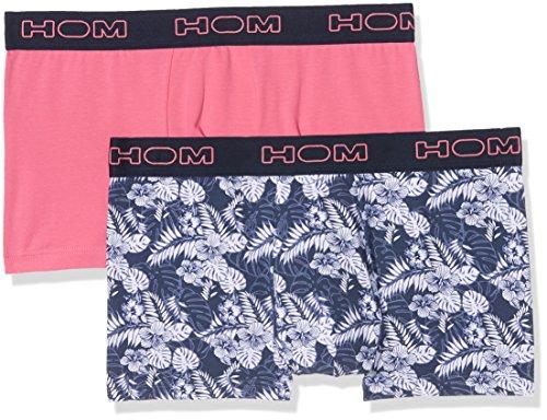 HOM Herren Boxershorts Boxerlines #2 Boxer Briefs, 2er Pack Mehrfarbig (Printed Navy+Pink V003)