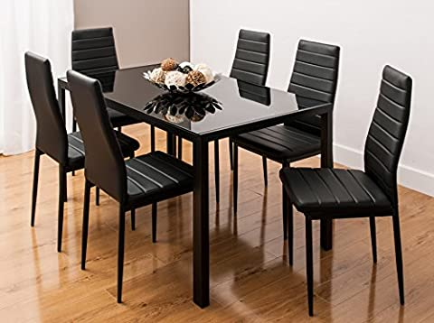 Glass Dining Table Set with 6 Faux Leather Ribbed Chairs By SMARTDESIGNFURNISHINGS® (Black)
