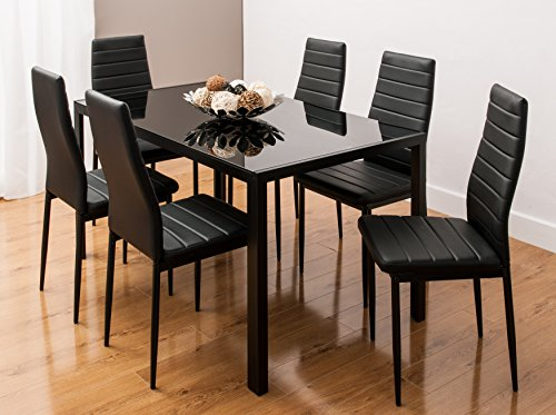 glass-dining-table-set-with-6-faux-leather-ribbed-chairs-by-smartdesignfurnishingsr-black