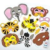 Bastelset für Masken aus Schaumstoff - Tiere des Dschungels - für Kinder ideal zum Kindergeburtstag und Karneval - 6 Stück