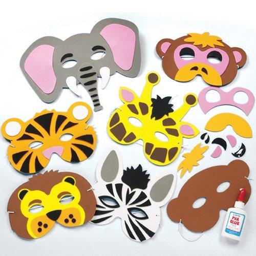Baker Ross Bastelset für Masken aus Schaumstoff - Tiere des Dschungels - für Kinder ideal zum Kindergeburtstag und Karneval - 6 (Dschungel Tier Kostüm Kinder)