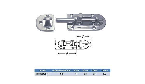 1 Stück V4A Bolzenriegel Türriegel Schlossriegel Möbelriegel Schubriegel 76 mm