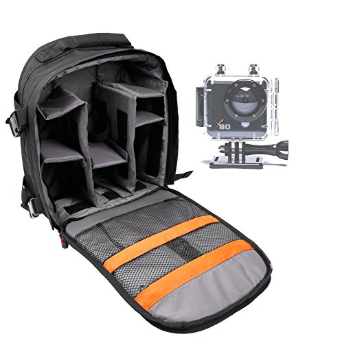 Price comparison product image DURAGADGET High Quality 'Adventure' Water Resistant Nylon Rucksack With Adjustable Padded Interior For Kaiser Baas X80 Action Camera