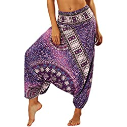 Lvguang Pantalones De Estilo Hippie De Los Mujer De La Vendimia del Estilo Nacional Pantalones Holgados Bombachos Ocasionales del Hippie (Estilo15, One Size)