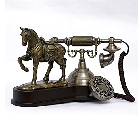 Xiuxiandianju Europe Style Polyresin Material with Wooden Home Decor Telephone with ID Display,Horse Design , bronze