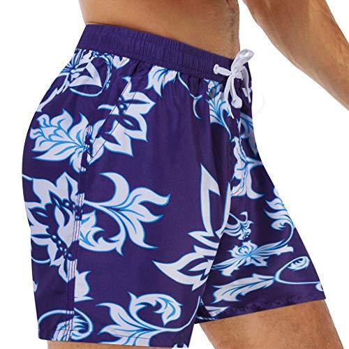 Kaister Badehose für Herren Atmungsaktive Badehose Beach Print Running Unterwäsche Jungen Badeshorts für Männer Kurz Vielfarbig Strand Shorts - Lrg-print-shorts