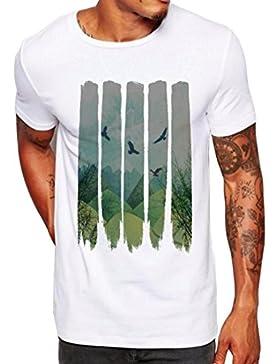 Oyedens Hombres De Moda Que Imprimen La Blusa De La Camiseta De Manga Corta De La Camiseta De Las Camisas