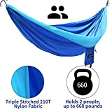 Wonbor Hammock, Camping Portable Double Hammock Parachute Nylon Hanging Bed with Tree Ropes and Carabiners Sleeping Swing for Beach Yard Park Outdoors