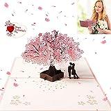 Carte mariage, carte de félicitations et invitation, 3D Pop Up Carte de voeux Enveloppe Carte Cadeau pour Couple Amoureux Petit ami Petite amie Marié Mariée, Romantique Sakura