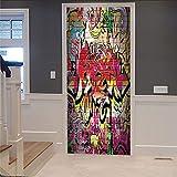 Autocollant De Porte 3D Creative Graffiti 3D Stickers De Porte Poster De Décoration De Chambre À Coucher Pvc Imperméable
