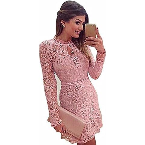 Estein Vestido de noche del partido del vestido delgado de manga larga rosada de las mujeres hueco atractiva del