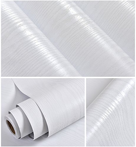 Kunstleder weiß Holz Getreide Kontakt Papier Vinyl selbstklebend Regal Schublade Liner für Badezimmer Küche Schränke Regale Arts Crafts Aufkleber 61x 297,2cm