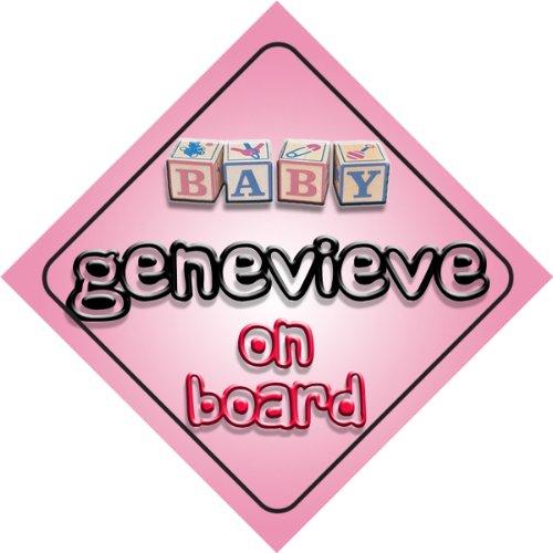 Genevieve on board baby Girl auto a forma di cartello regalo per bambini e neonati